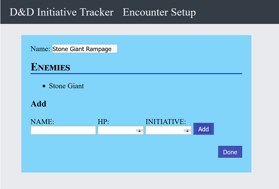 Encounter Builder Screen