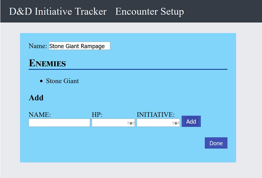 Encounter Builder Screen