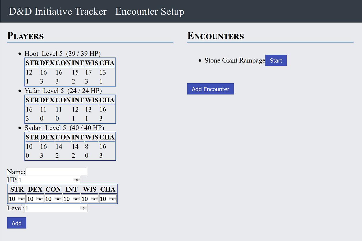 D&D Initiative Tracker Home Screen