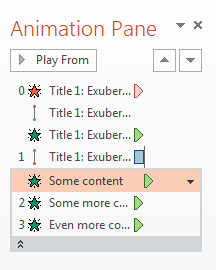 PowerPoint animation pane screenshot showing each bullet point animated individually.