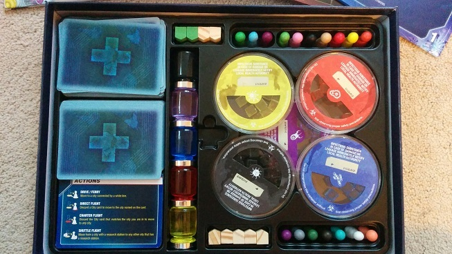 A close of of the game components in the core box, using the On the Brink box insert